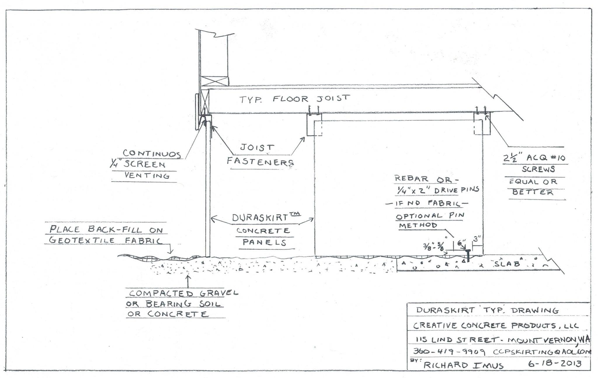 DURASKIRT™ Typical Mobile Home Skirting Installation Drawing.