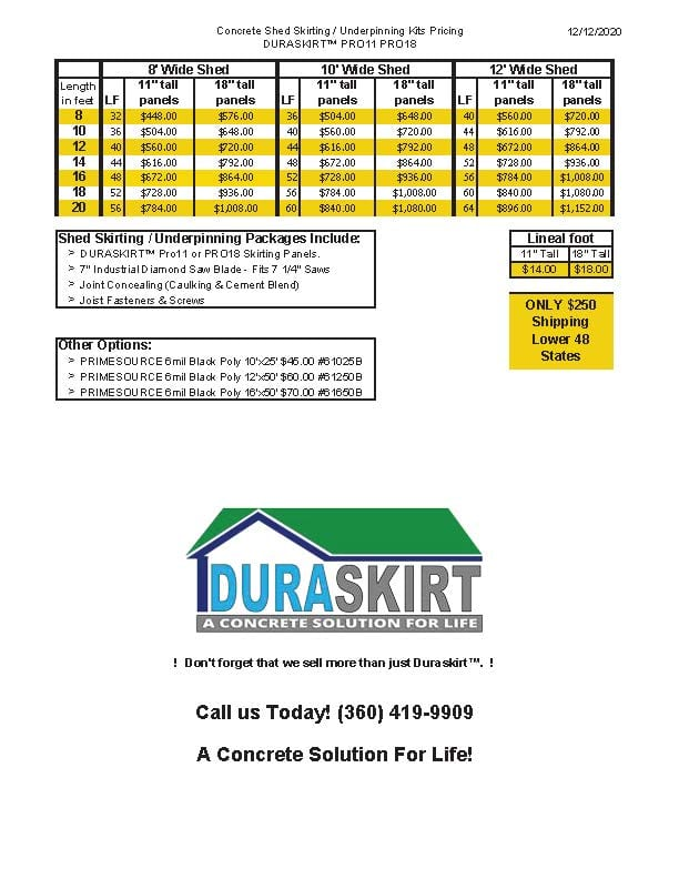 Shed Skirting Prices